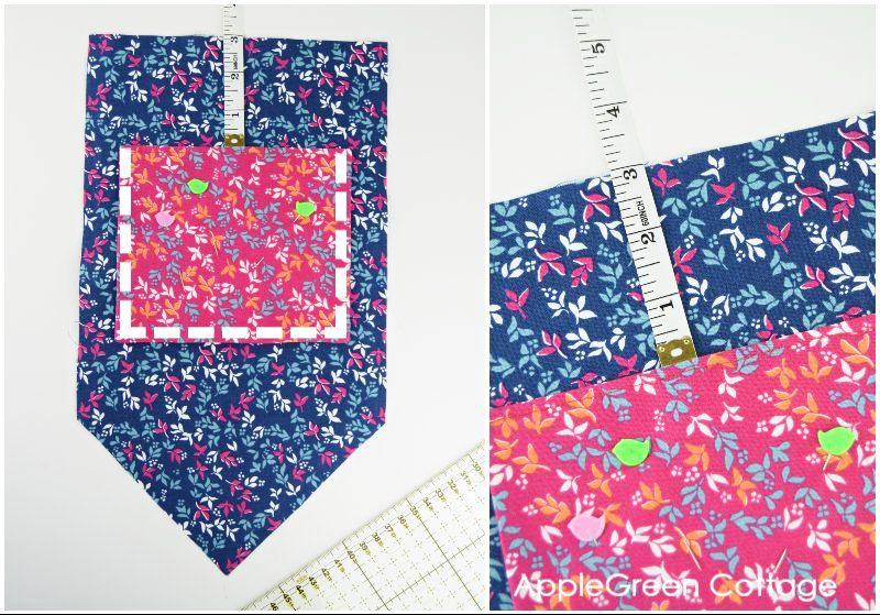 pocket on market tote bag