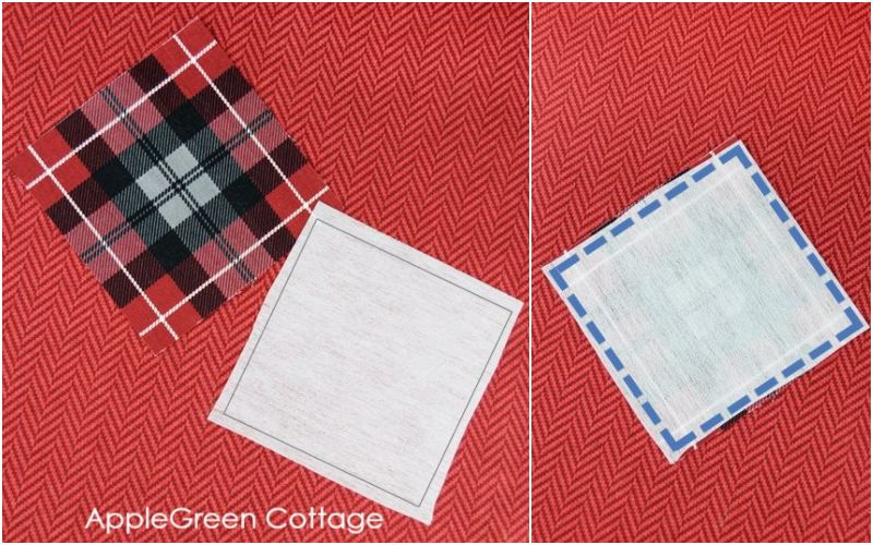 two pieces for diy applique on red fabric background