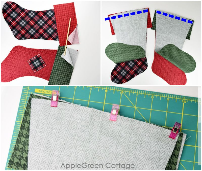 steps to sew a christmas stocking