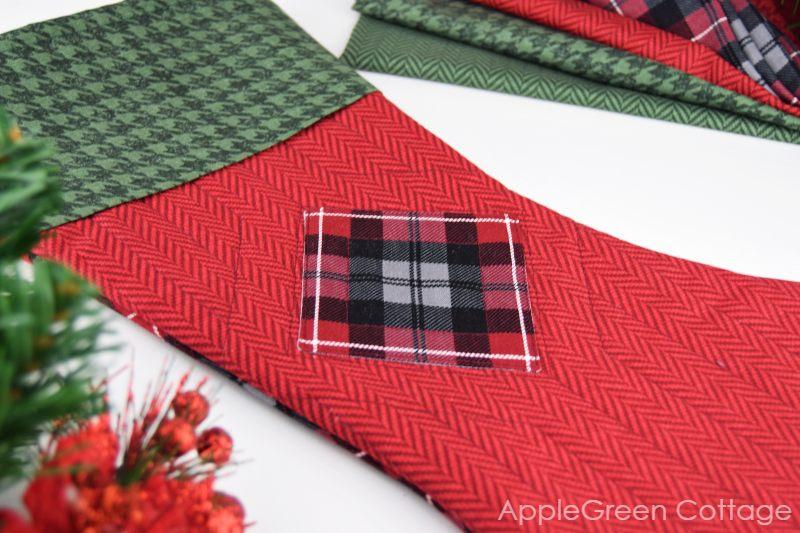 closeup of a handmade plaid christmas stocking