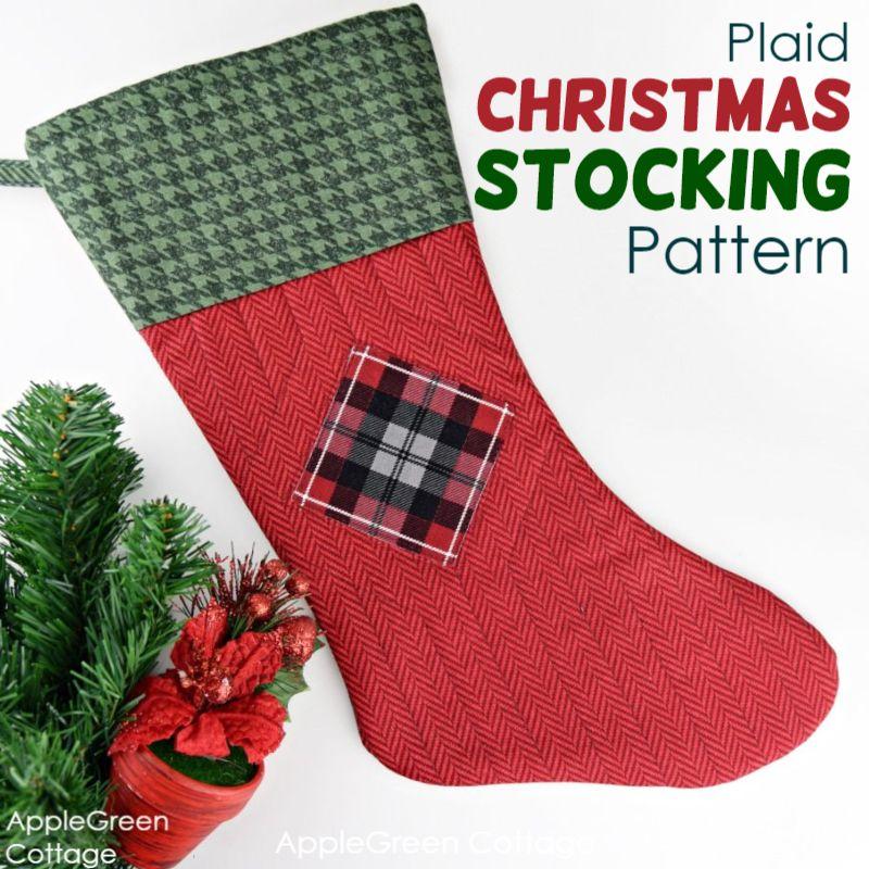 how to make a plaid christmas stocking
