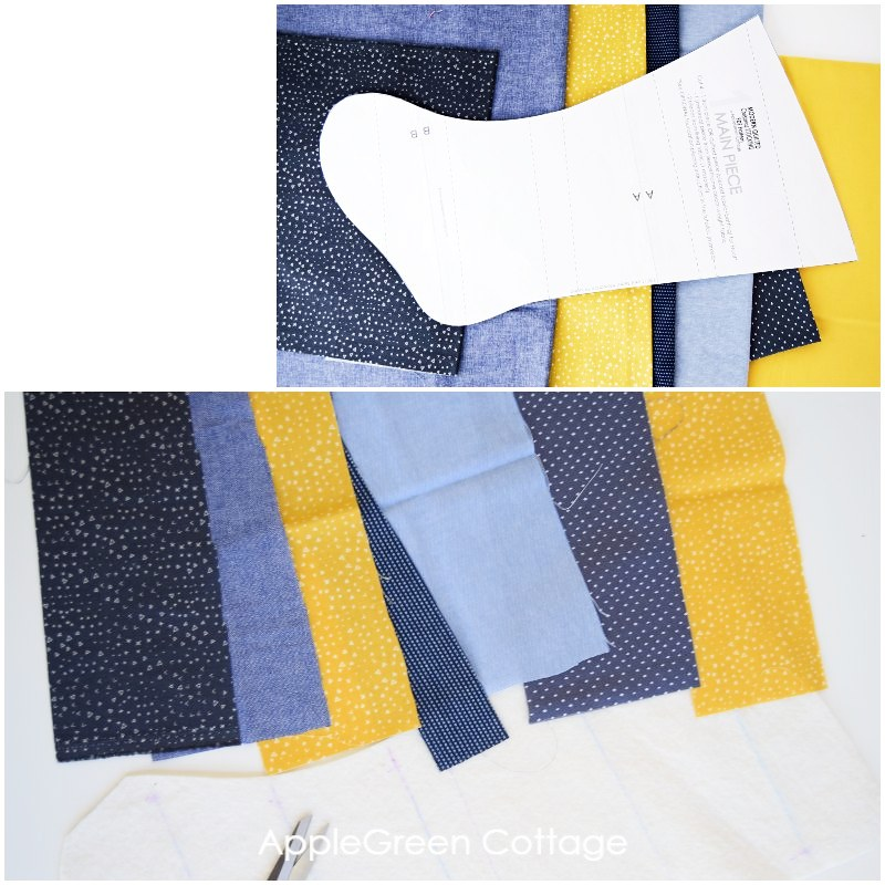 blue and yellow fabric scraps for quilted christmas stocking