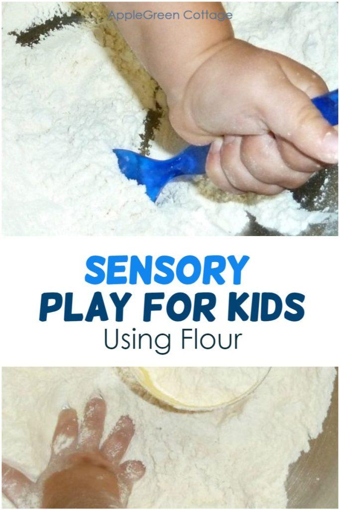 sensory play with flour