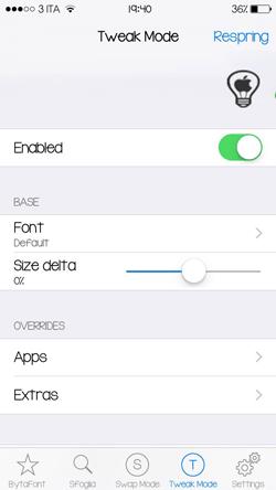 BytaFont 3, come personalizzare il font del vostro dispositivo iOS 9_Impostazioni_2
