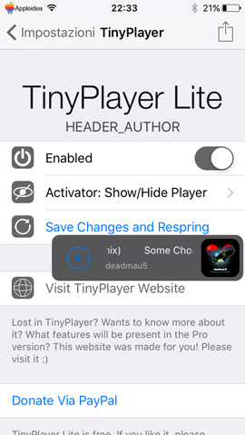 TinyPlayer Lite, un mini player fluttuante e disponibile ovunque sul display del tuo iPhone_Impostazioni