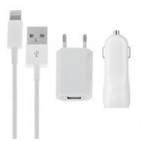 3v1 nabíjecí sada pro Apple zařízení - EU adaptér, autonabíječka se dvěma USB porty (3.1A) a Lightning kabel