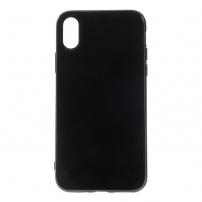 Leský gumový kryt na iPhone XS / iPhone X - černý