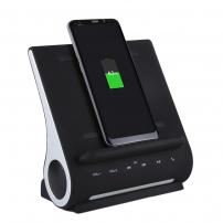 AZPEN 3 v 1 stylová a extra rychlá dokovací stanice se zabudovaným bluetooth reproduktorem a QI bezdrátovou nabíječkou pro Apple iPhone / iPad
