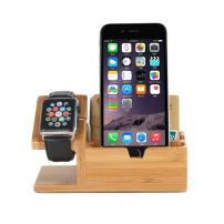 Dřevěný nabíjecí stojánek 2v1 pro iPhone / Apple Watch - světlé dřevo
