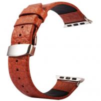 Kakapi kožený řemínek + kovové úchyty a kvalitní spona na zapínání pro Apple Watch 42/44 mm - hnědý
