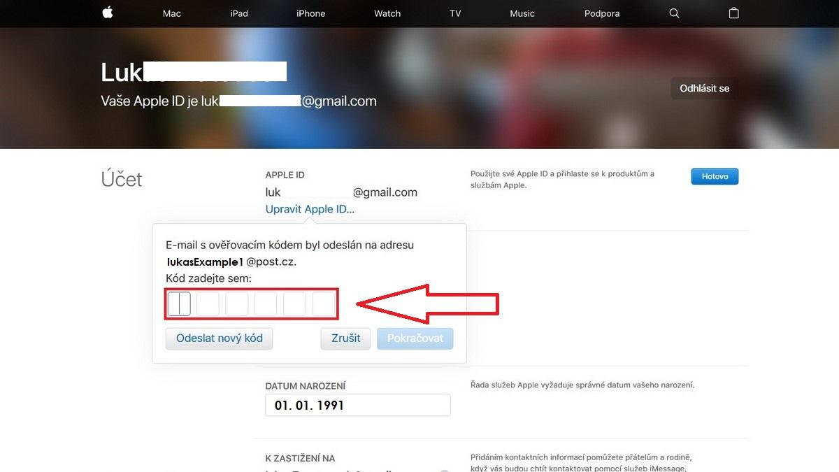Apple ID - jak změnit e-mail