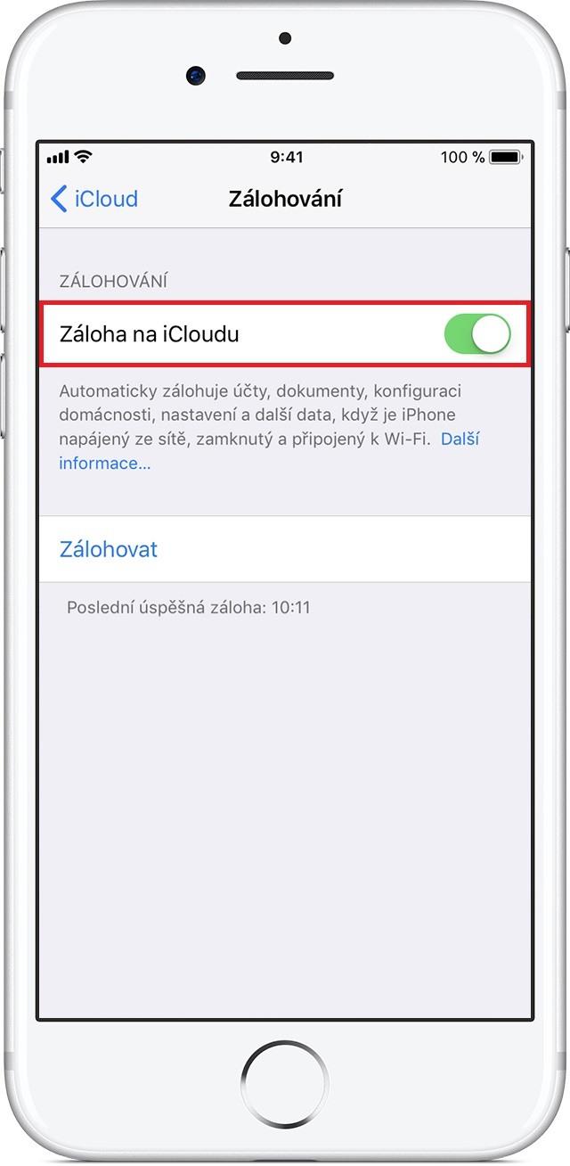 iPhone - záloha na iCloud