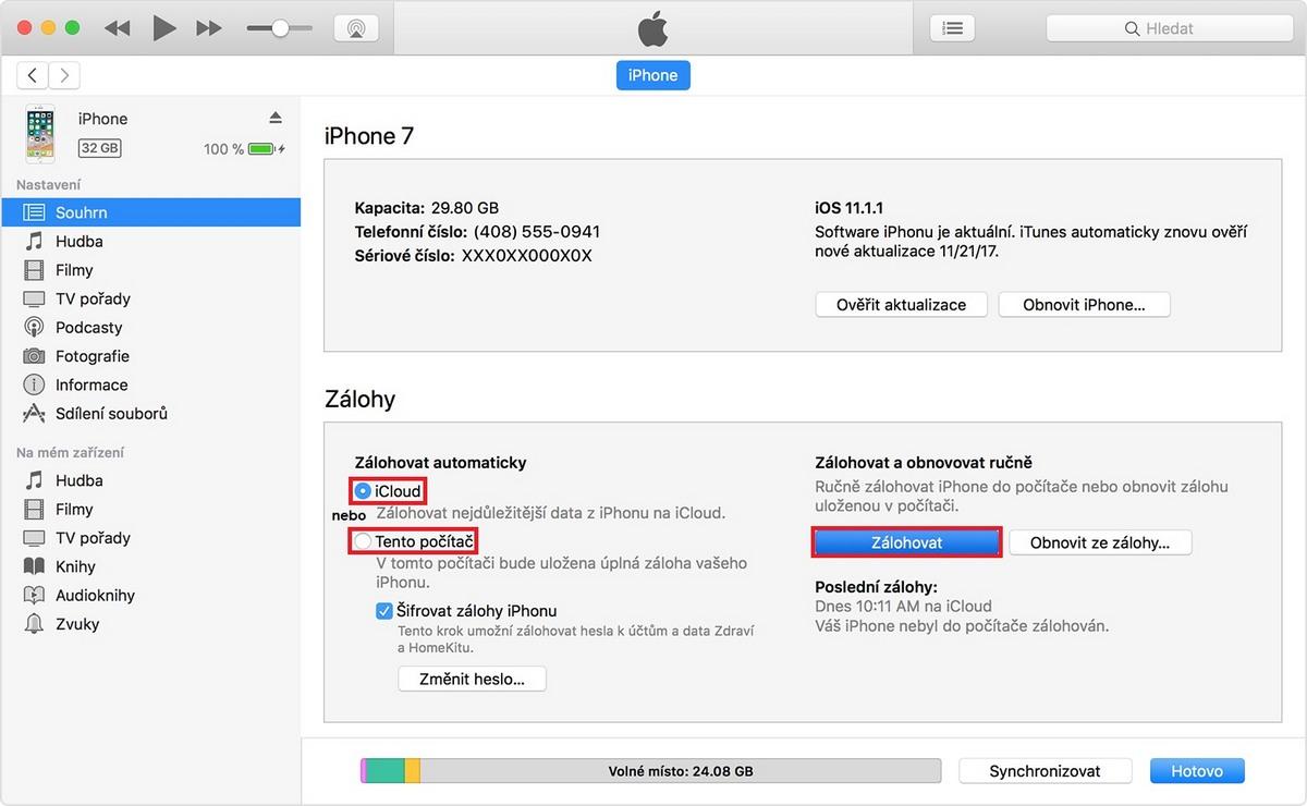 iPhone - záloha přes iTunes