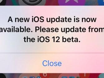 iOS 12 beta - hláška