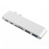 6az1-ben alumínium hub / elosztó USB-C (Thunderbolt 3) a 2 x USB 3.0 + olvasó SD a TF kártyákra + 2 x USB-C - Macbook Pro készülékre - ezüst