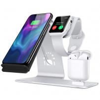 Stativ de încărcare iPhone / Watch / Airpods - argintiu deschis