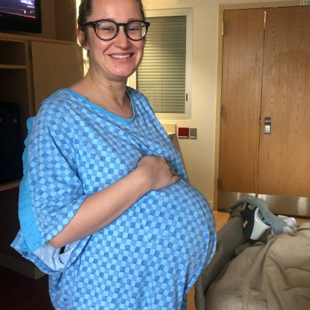 pregnant woman about to have a c-section at 37+4 weeks
