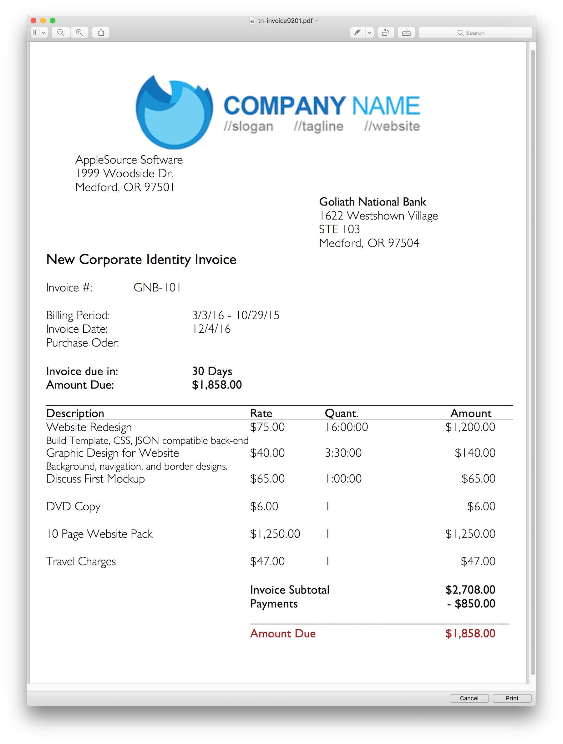 Invoice Template Mac