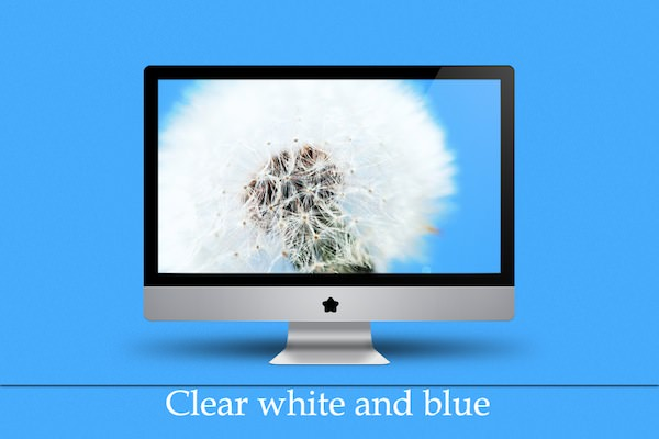 Clear White and Blue