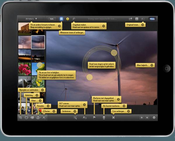 help functie in iPhoto iOS