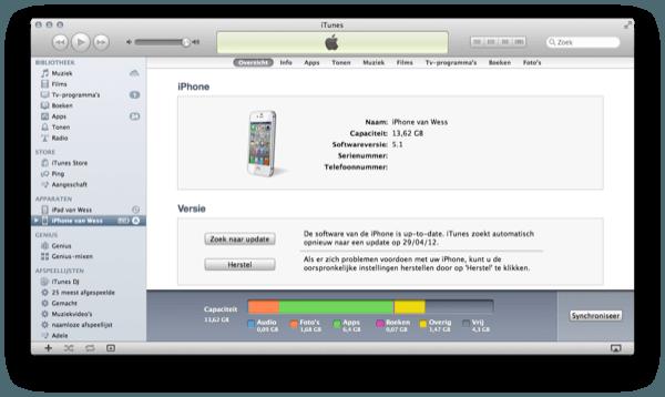 Overige data herstellen in iTunes