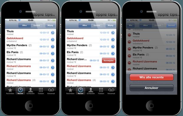 de recente telefoonlijst iOS