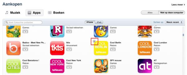 apps verbergen aankopenlijst
