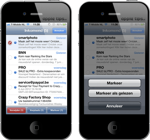 markeren als gelezen iOS
