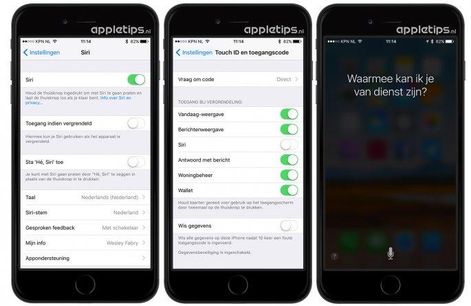 Siri uitschakelen op het toegangsscherm