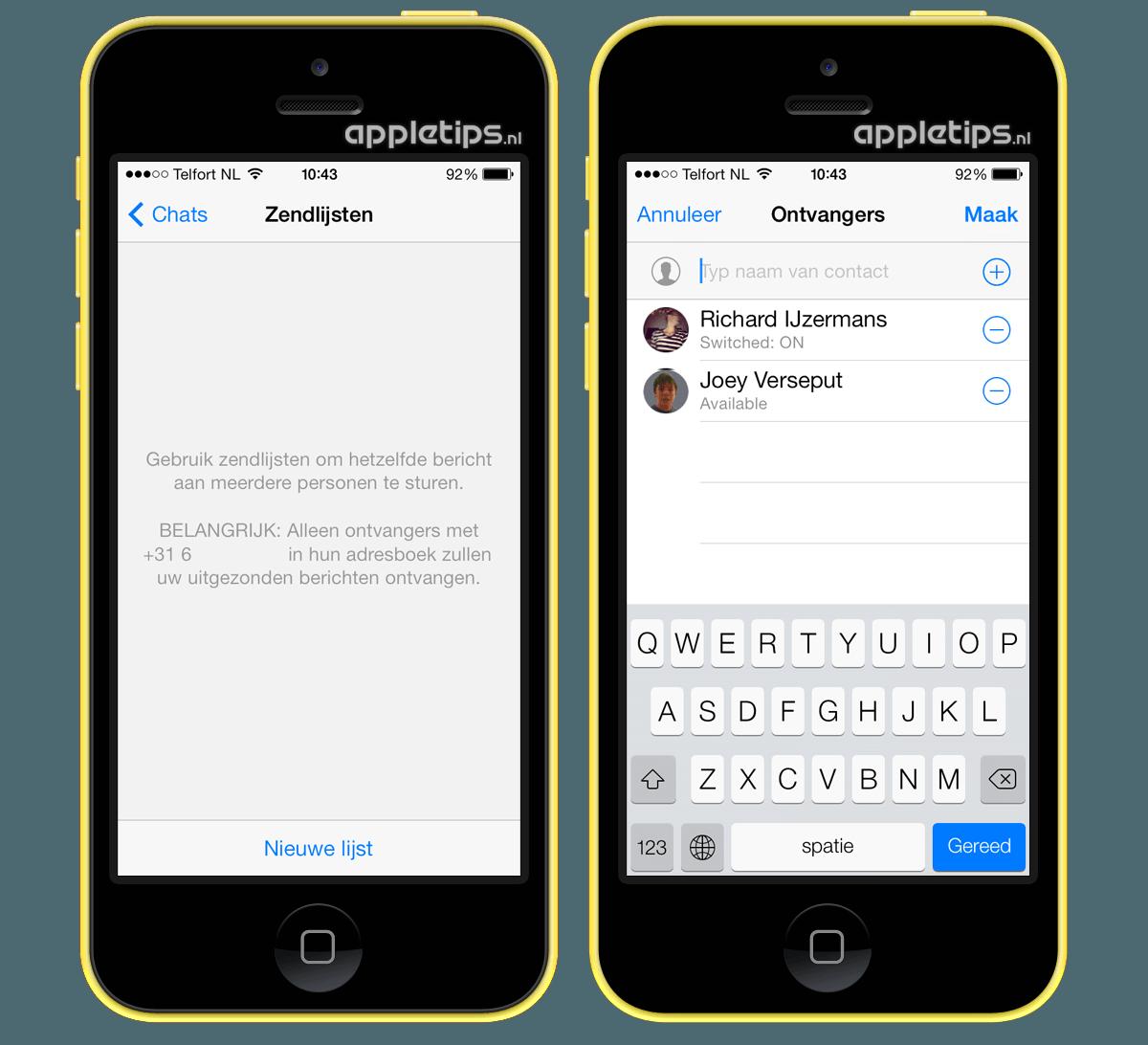 Whatsapp gebruikmaken van zendlijsten appletips - Hoe een kleedkamer aanmaken ...