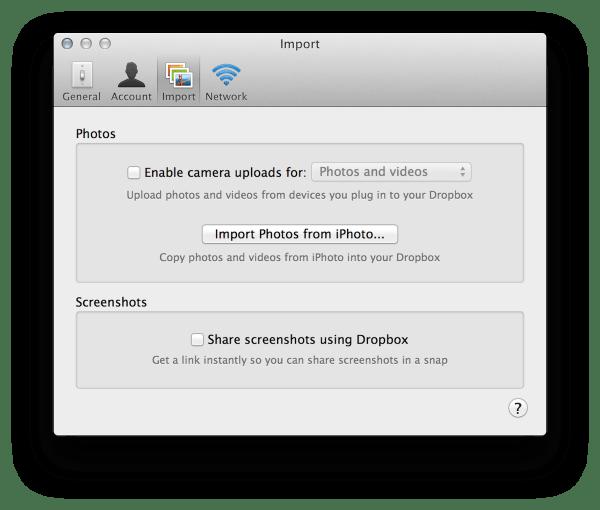 Dropbox schermafbeelding uitschakelen