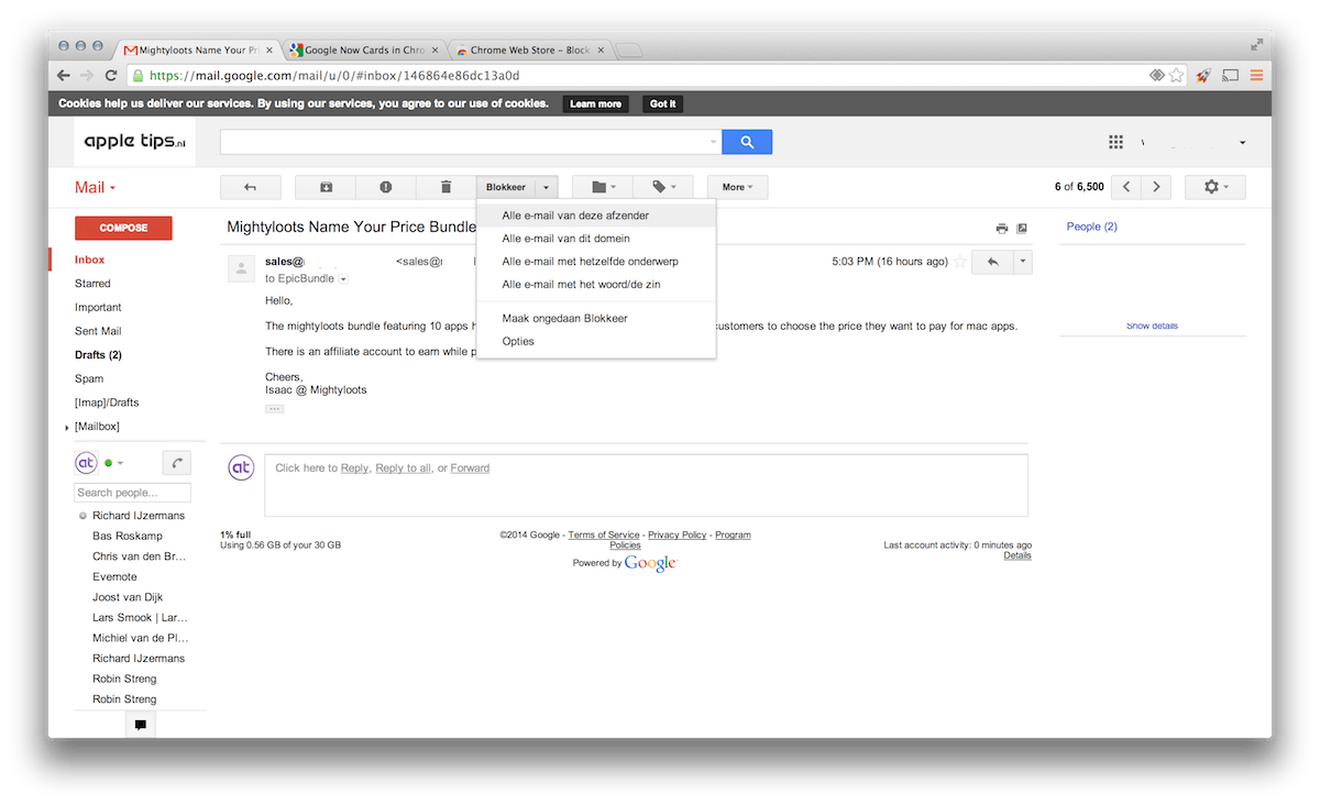 Google Chrome: Blokkeer bepaalde afzenders binnen je Gmail ...