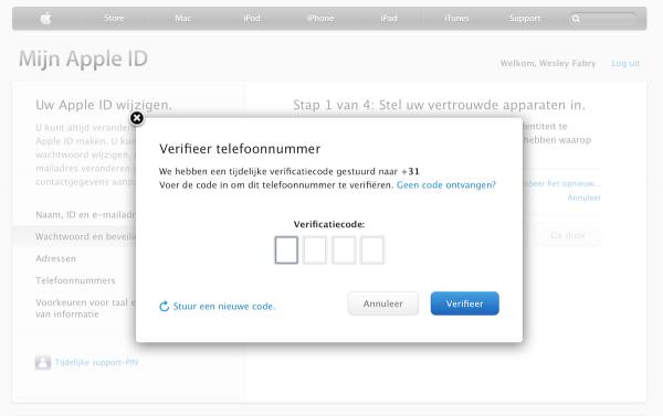 twee staps verificatie apple id