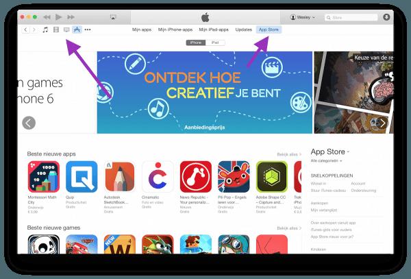 app store in itunes