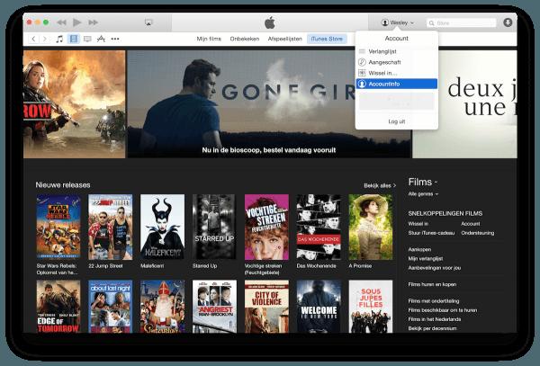 iTunes-filmoverzicht