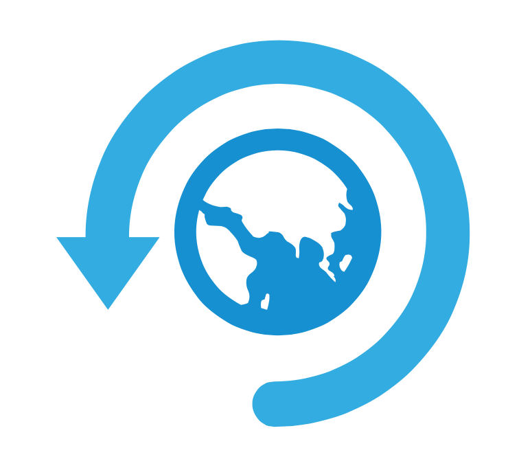 Logo wereld back up dag is blauw met een pijl en wereldbol