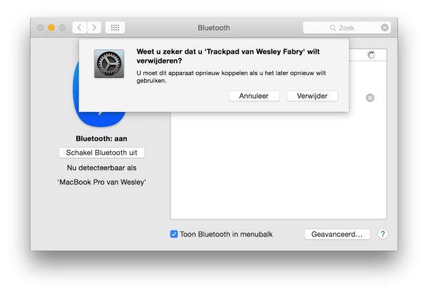 bluetooth instellingen OS X