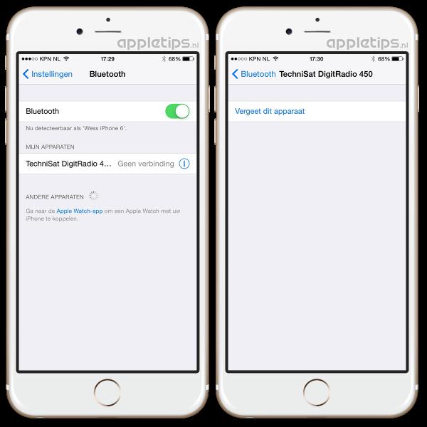 bluetooth instellingen iOS