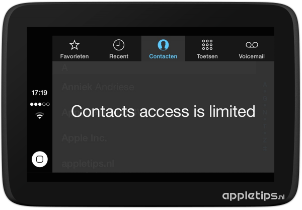 contacten in carplay limited