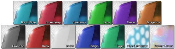 Alle kleuren waarin de de iMac G3 beschikbaar waren.