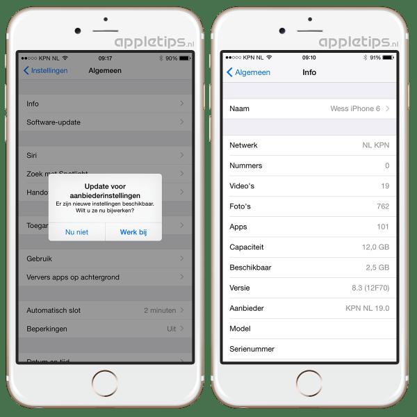 aanbiederinstellingen update iOS iPhone