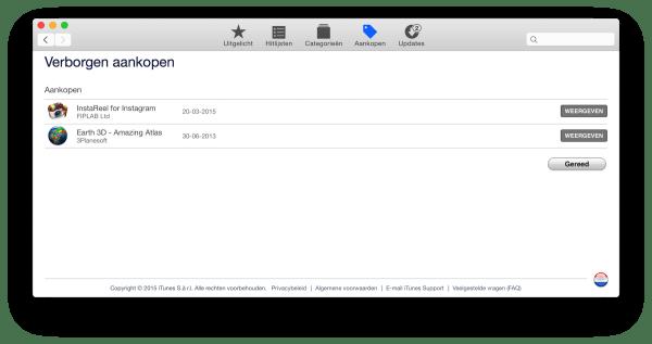 verborgen aankopen Mac App Store