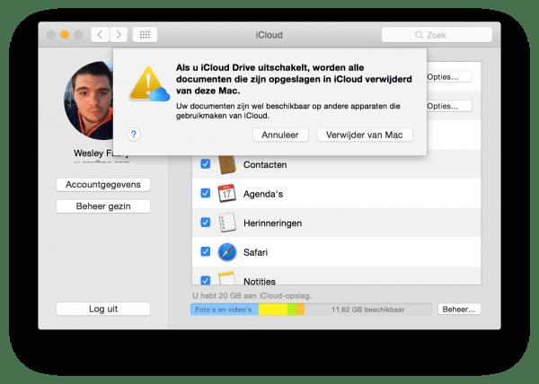 voorkeuren voor iCloud OS X