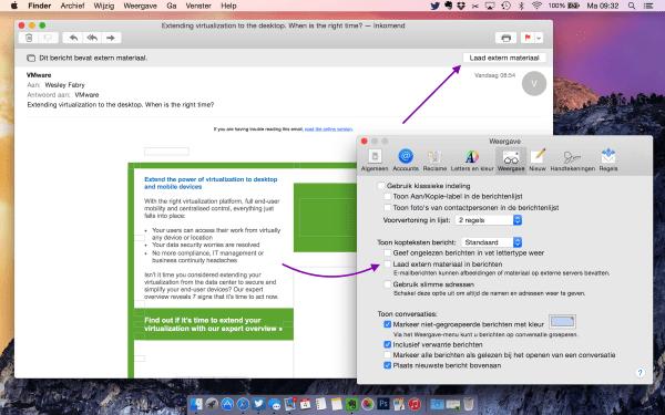 geen extern materiaal laden OS X mail