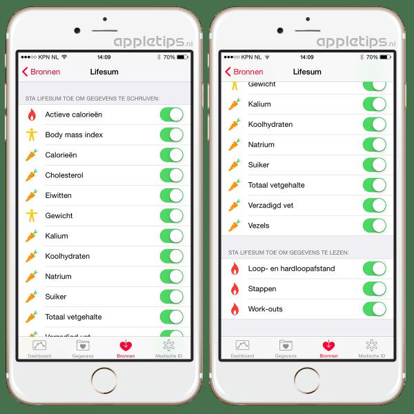 gezondheidfuncties in iOS 8