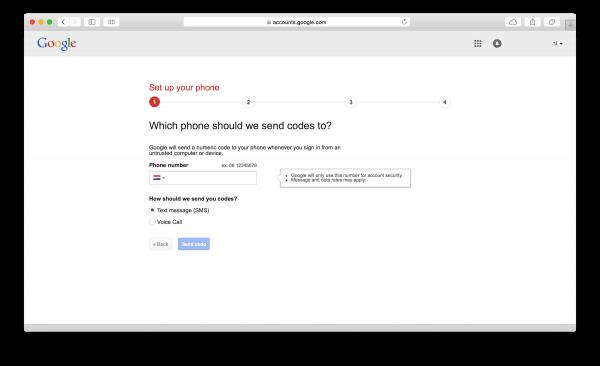 twee staps verificatie google inschakelen
