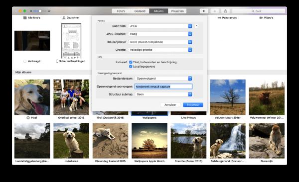 grootte en formaat aanpassen bij exporteren foto's voor MAc