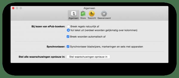instellingen voor iBooks in OSX