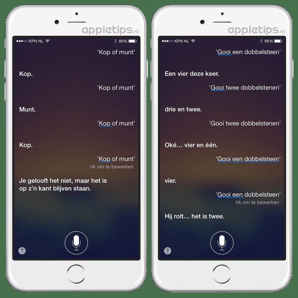 kop of munt? gooi een dobbelsteen, Siri kan het