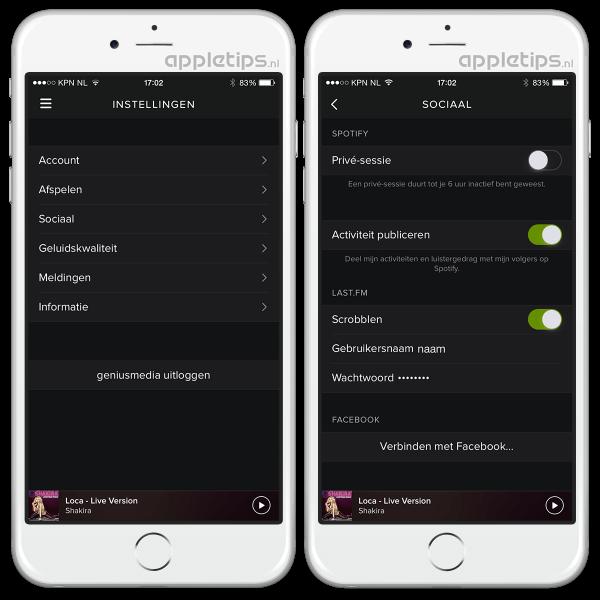 instellingen spotify app iOS